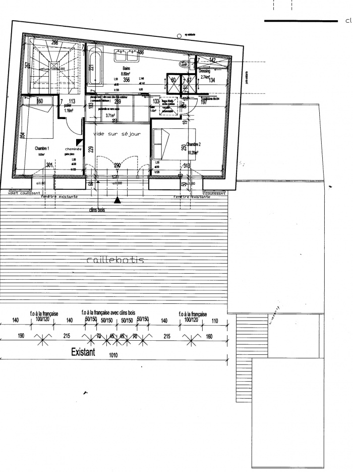 Rénovation et extension d'un ancien corps de ferme : Plan étage