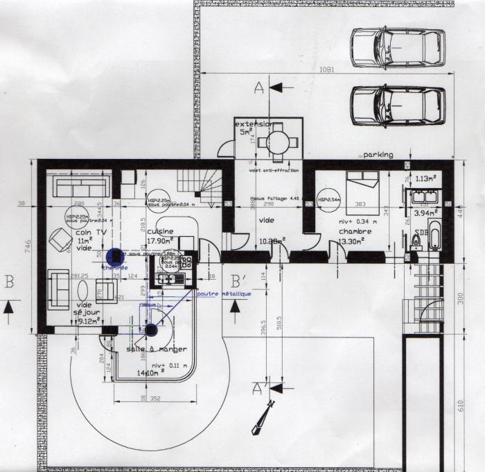 Extension d'une maison ( vérandas ) : Plan maison et vérandas