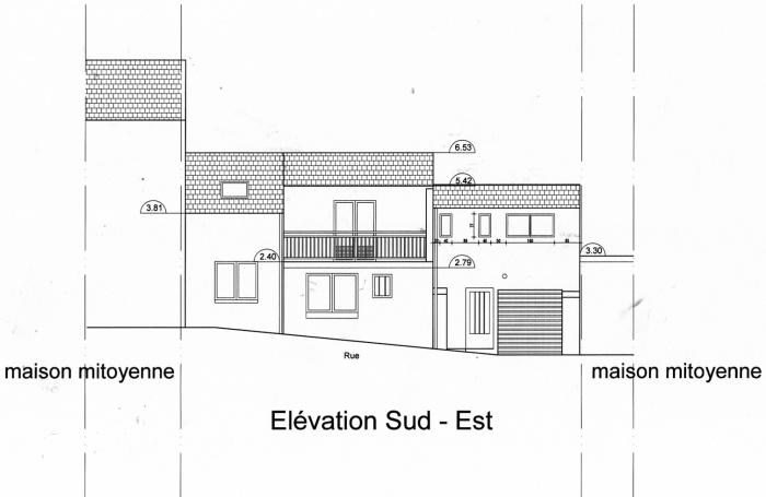 Surélévation d'une maison : Façade rue projet