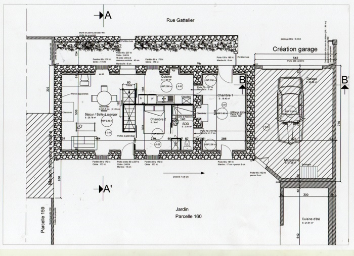 Surélévation d'une maison et construction d'un garage : Plan RDC