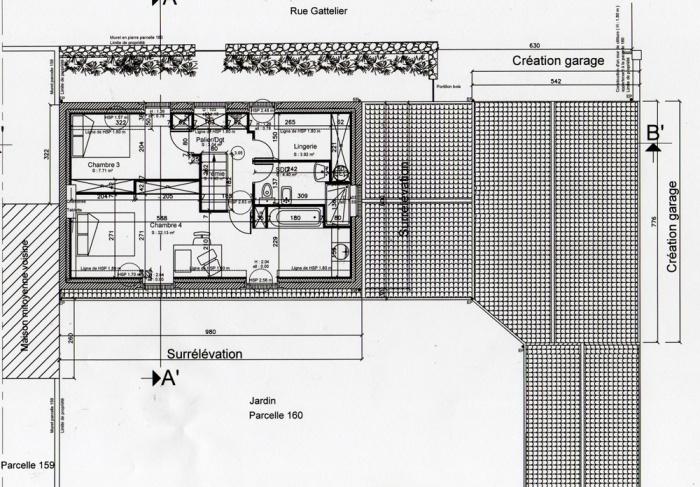 Surélévation d'une maison et construction d'un garage : Plan étage