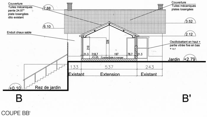 Rénovation, extension d'une maison et construction d'un garage ( projet en cours ) : Coupe projet