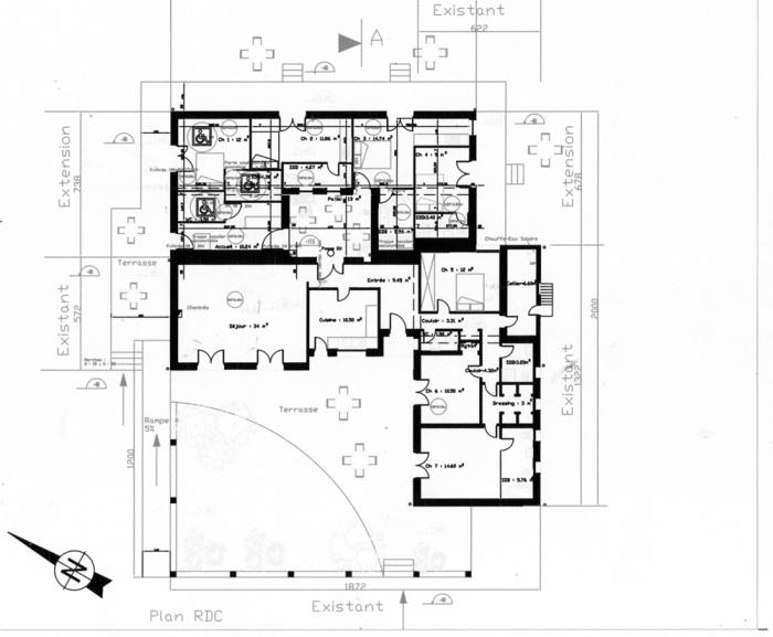 Maison d'hôtes - extension ( projet en cours ) : Plan extension