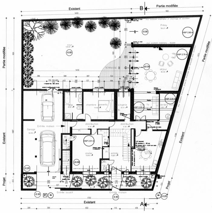 Rénovation d'une maison et aménagement de son extension ( projet en cours ) : Plan RDC projet