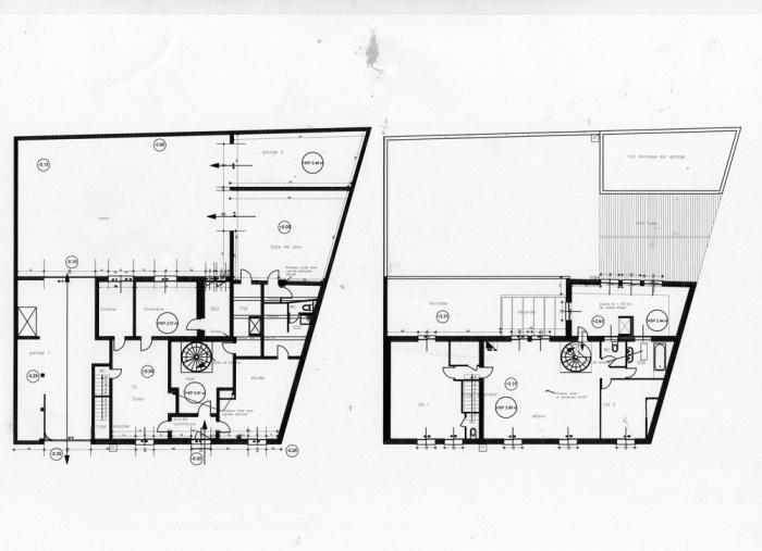 Rénovation d'une maison et aménagement de son extension ( projet en cours ) : Plans RDC et étage existant