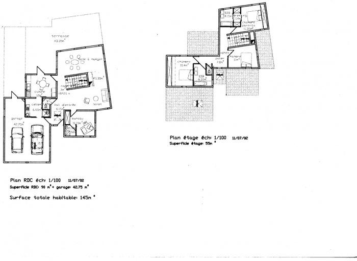 Construction d'une maison en lotissement : Plans RDC et étage