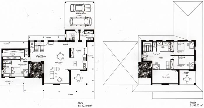 Construction d'une maison ( projet en cours ) : Plans RDC et étage