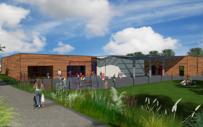 Ecole maternelle et primaire - Construction bois : Arrière de l'école