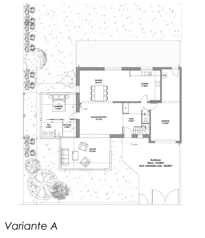 Extension d'une maison d'habitation (44) : Plan A