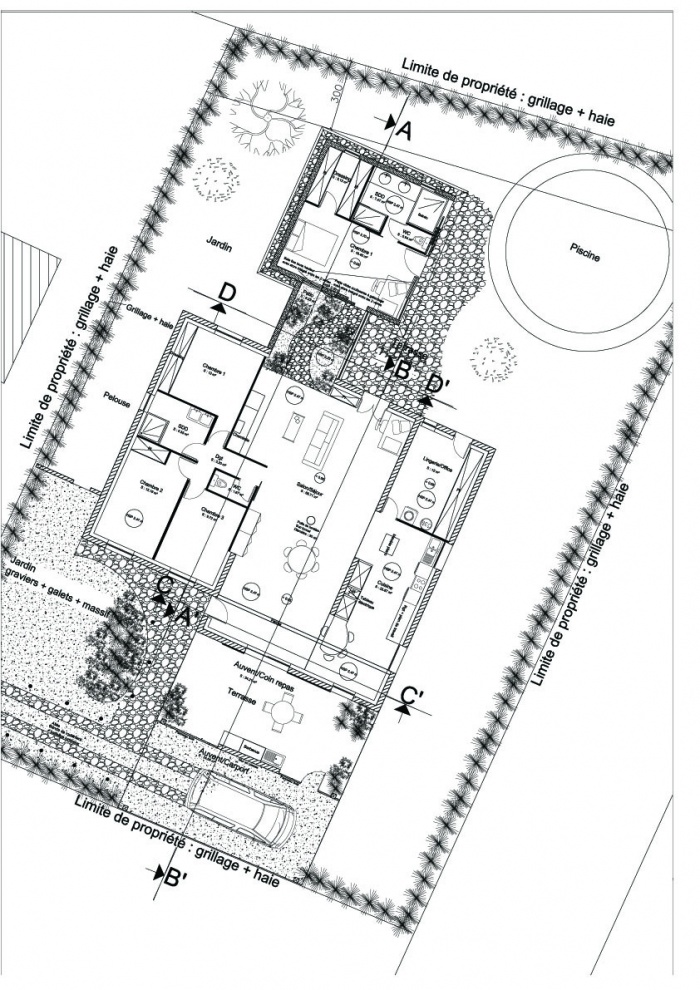Extension d'une maison ( projet en cours ) : Plan RDC projet copie