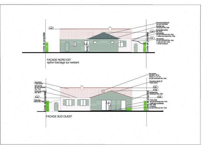Extension d'une maison ( projet en cours ) : Façades Nord Est et Sud Ouest copie