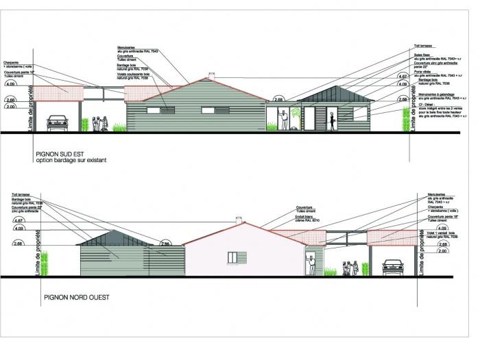 Extension d'une maison ( projet en cours ) : Pignons Sud Est et Nord Ouest copie