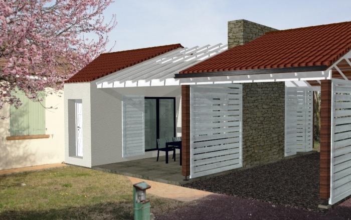 Extension d'une maison ( projet en cours ) : maquette 3D Sud