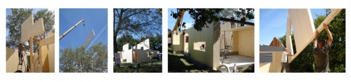 Habitat groupé bioclimatique (44) : montage des panneaux KLH