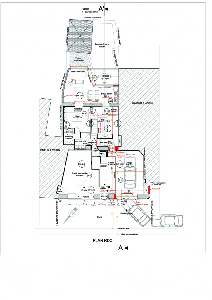 Extension d'un logement : Plan RDC projet